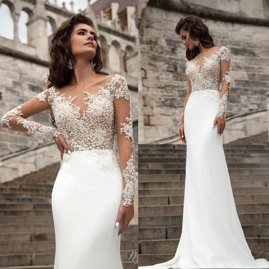 Spring 2016 Wedding Dresses Sheer Neck Long Sleeve Lace Applique Mermaid Wedd