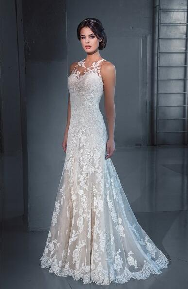 New Designer Mermaid 2016 Wedding Dresses Lace Cheap Sheer Neck Sleeveless Applique Illusion