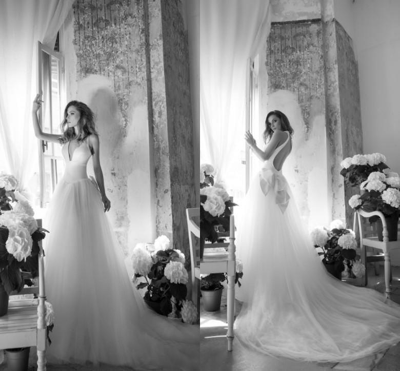 Wedding - Elegant Pnina Tornai White Wedding Dresses Ball Spring A Line V Neck Backless Long Chapel Train 2016 Newest Bridal Gowns Cheap Online with $102.52/Piece on Hjklp88's Store