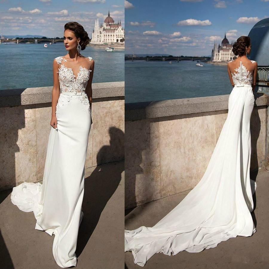 Princess mermaid 2016 lace wedding dresses sheer neck for Lace beach wedding dresses