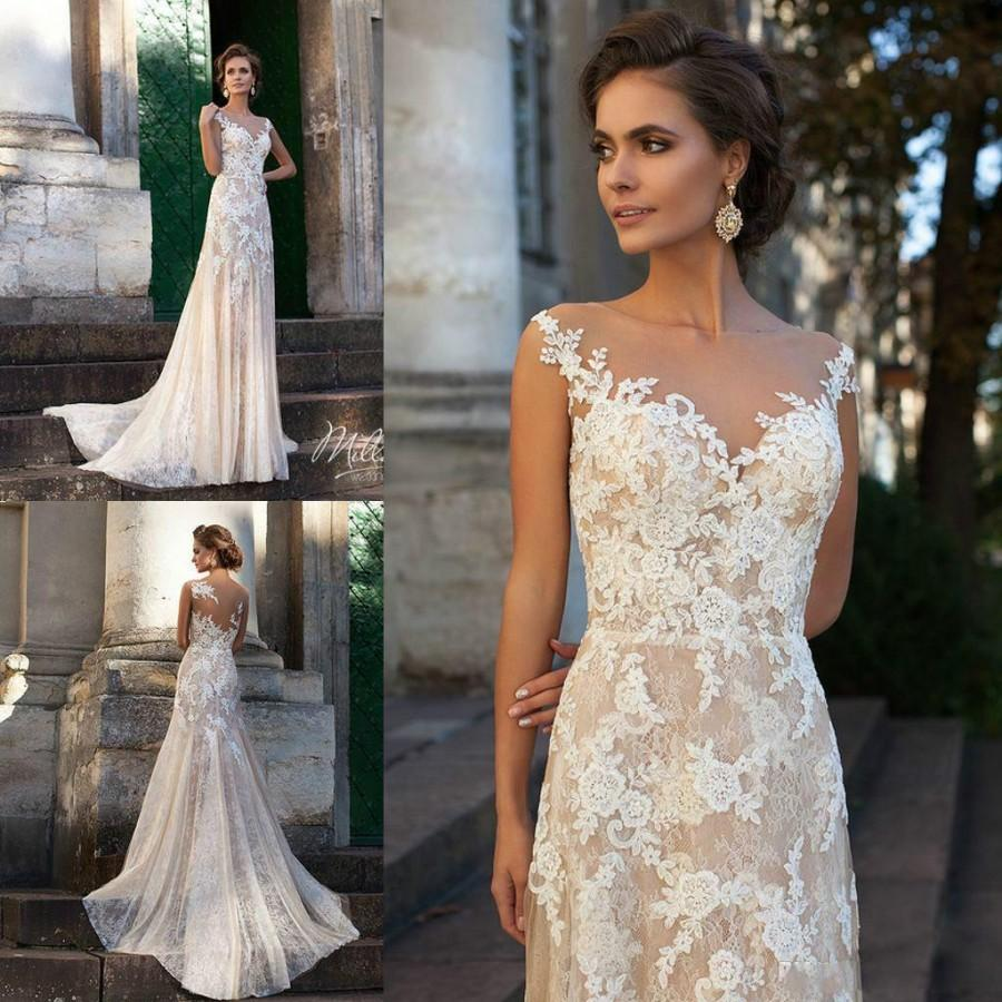 Vintage 2016 Ivory Wedding Dresses Sheer Neck Full Lace Applique Spring Mermaid Sweep Train
