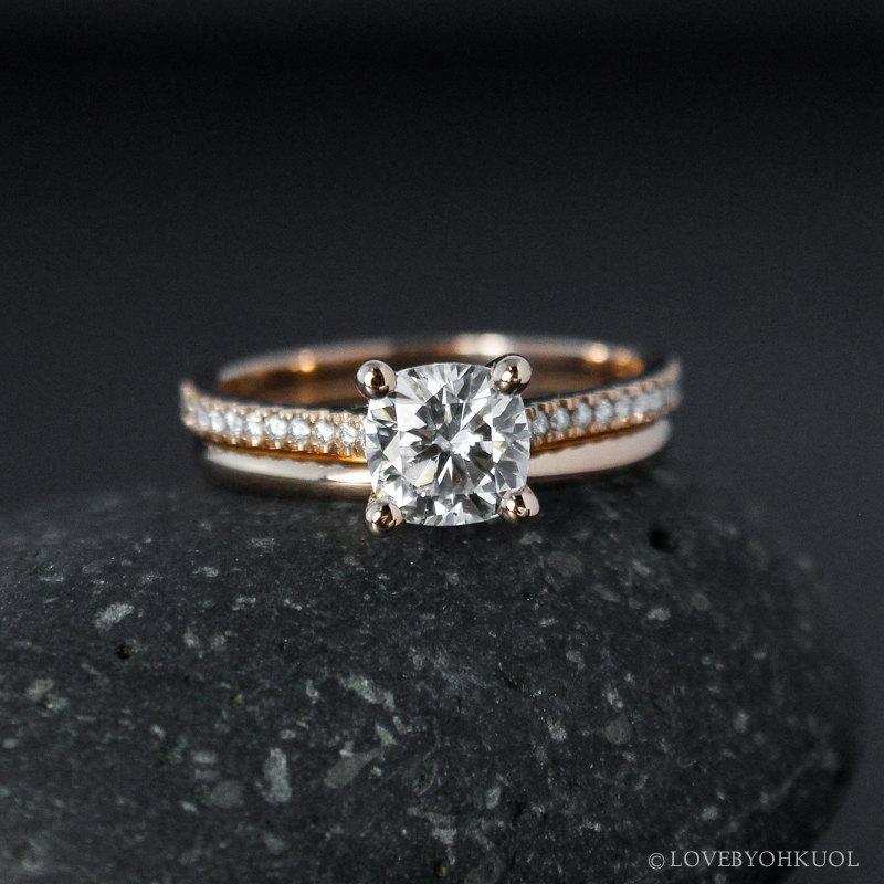 Rose Gold Forever One Moissanite Ring Engagement Ring Wedding