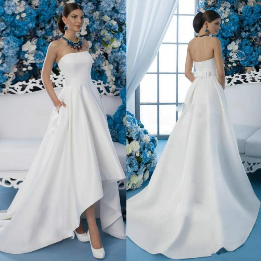 Cheap 2016 High Low Wedding Dresses Garden Strapless Neck Pocket Bow ...