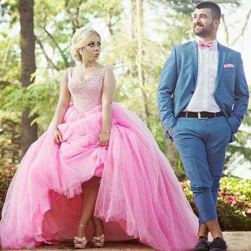 زفاف - 2016 New Arrival Pink Tulle Wedding Dresses Princess Sweetheart Fiteed Beaded Crystal Long Bridal Gowns Ball Tulle Vestido De Noiva Online with $112.32/Piece on Hjklp88's Store