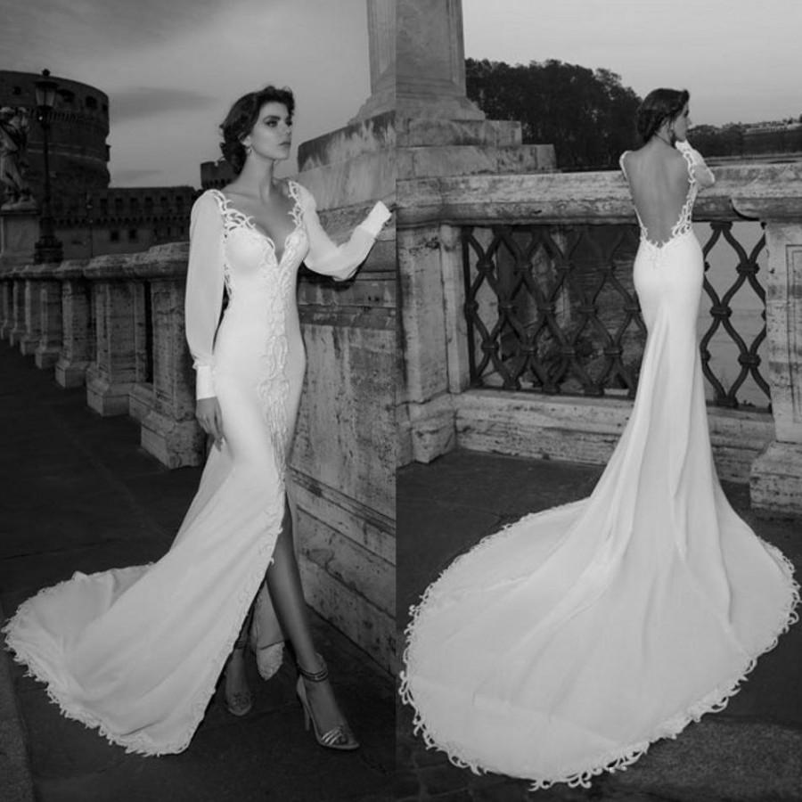 Stunning 2016 Julie Vino Mermaid Wedding Dresses Front Split V Neck Long Slee
