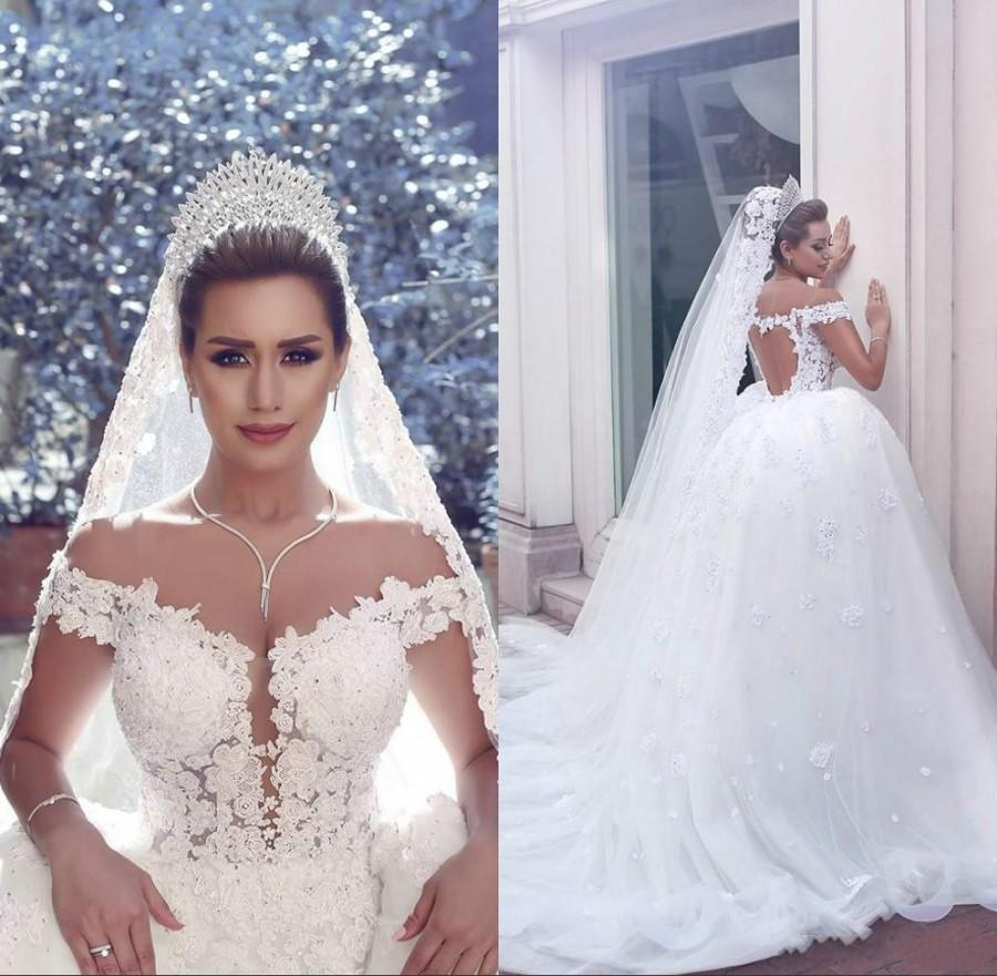 2c188eab10e9 Gorgeous Wedding Dresses Lace Applique 2016 Off Shoulder Tulle Beads Hollow  White Bridal Ball Gowns Chapel Train Capped Vestido De Noiva Online with ...