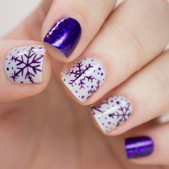 Hochzeit - Purple Snowflake Nail Art