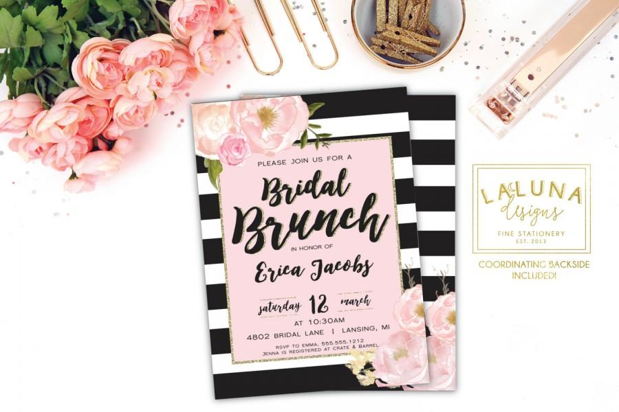 bridal shower invitation bridal brunch invitation bridal shower brunch brunch invites black white stripe pink and gold