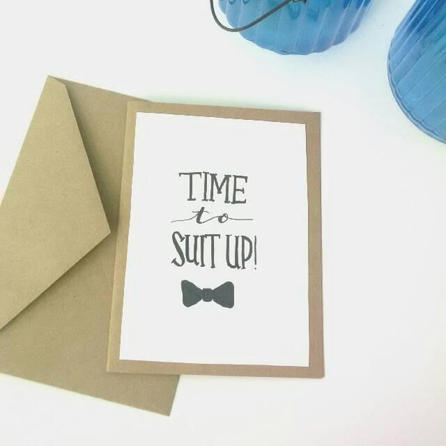 """Mariage - Groomsman Calligraphy Card, Custom 5x7 """"Time to Suit Up"""" Groomsman Bridal Party Card, Will you be my Groomsman Card, Wedding Party Card"""