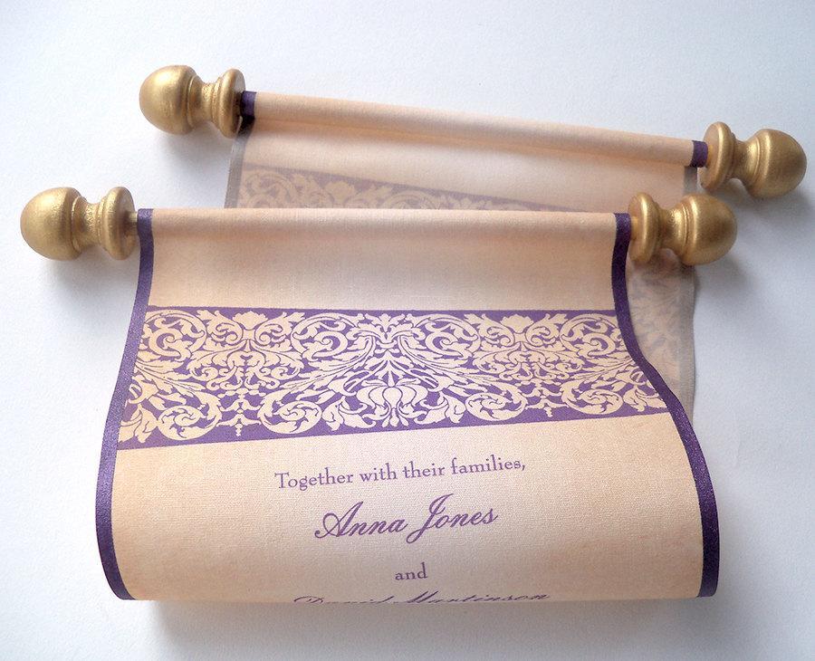 Hochzeit - Wedding invitation scroll on fabric, eggplant and gold SAMPLE
