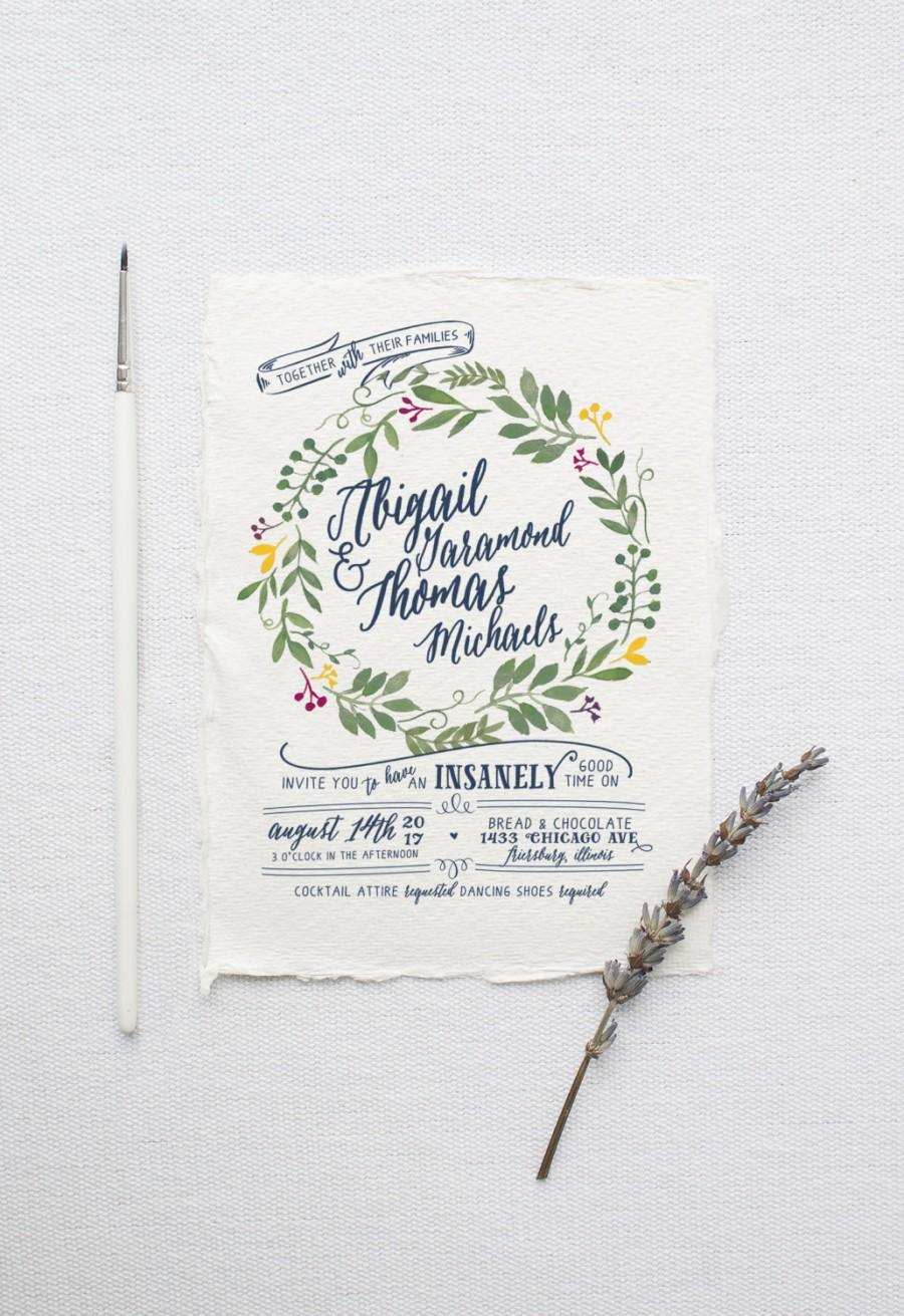 زفاف - Watercolor Wedding Invitation Suite DEPOSIT, DIY, Rustic, Boho Chic, Floral, Bohemian, Calligraphy, Printable, Wreath (Wedding Design #70)