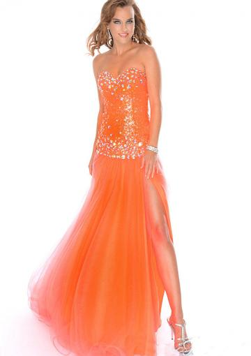 Mariage - Zipper Tulle Sweetheart Orange Lilac Split Front Crystals Sleeveless Floor Length