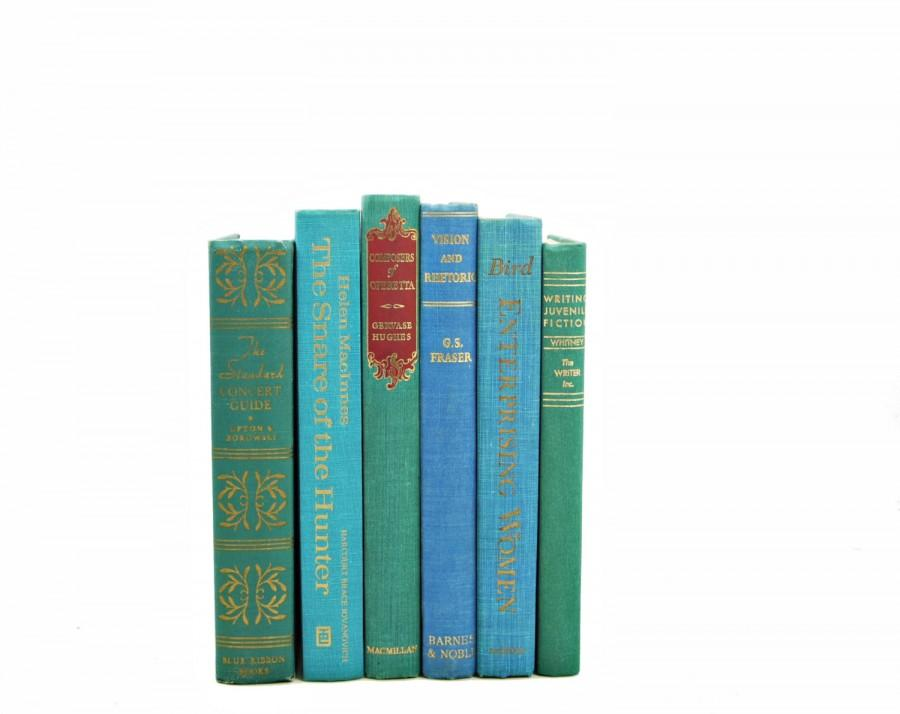 Mariage - Ocean Green BOoks, Aqua Decorative Books, Book Set, Beach BOok Decor, Wedding Centerpiece, Instant Library, Turquoise Old BOok collection