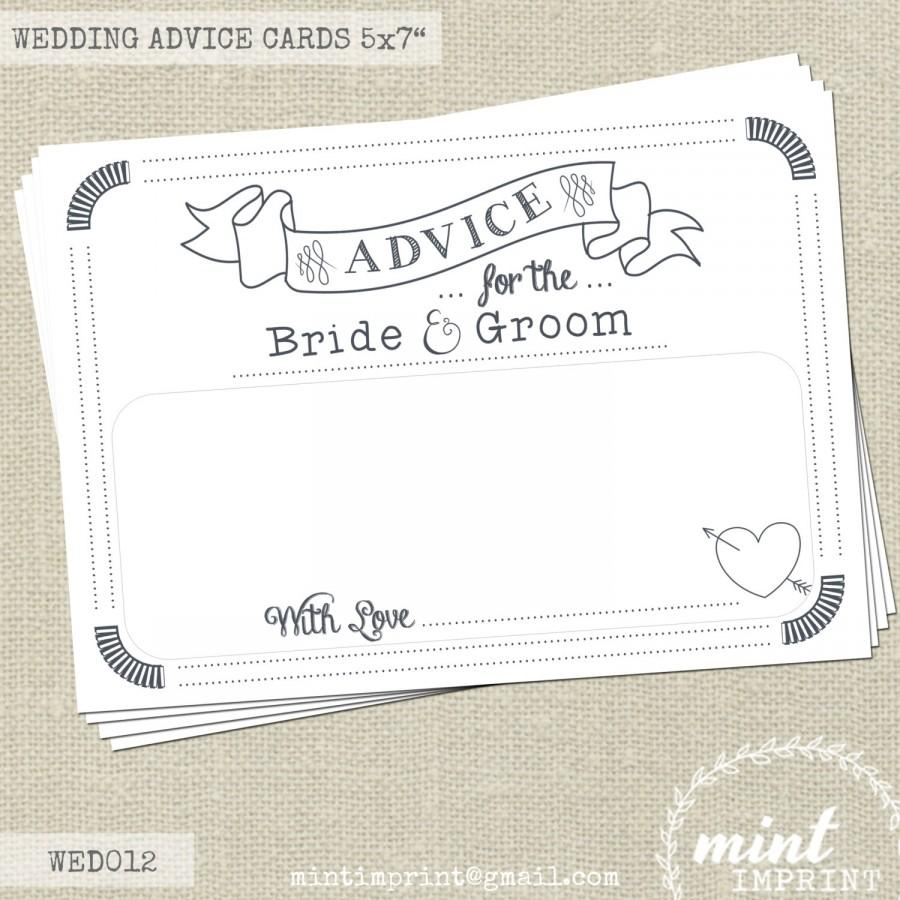 Wedding Advice Cards For The Bride And Groom Messages Keepsake Words Of Wisdom By Mint Imprint Decor
