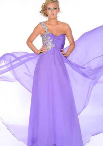 Wedding - Zipper Crystals Purple One Shoulder Sleeveless Chiffon Floor Length