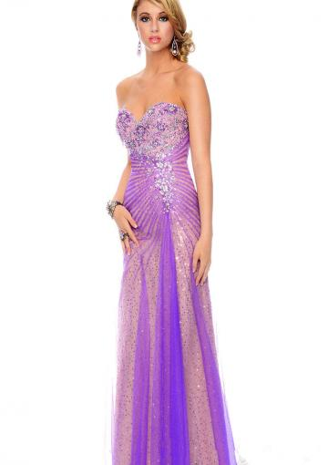 Wedding - Lace Up Sweetheart Purple Sleeveless Crystals Sequins Tulle Floor Length