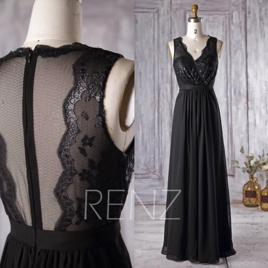 2016 Black Chiffon Bridesmaid Dress V Neck Lace Wedding Long Illusion Prom Mesh Back Evening Gown Floor Length H229