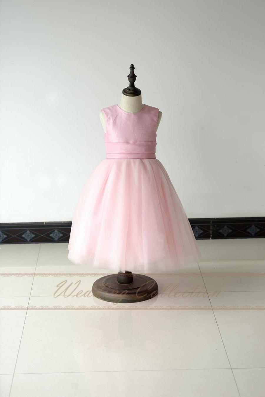 زفاف - Pink Flower Girl Dress Taffeta and Tulle with Waistband Ball Gown
