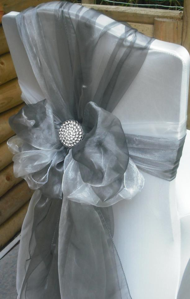 Mariage - Silver Organza Chair Sashes (9FT, 10 PACK)