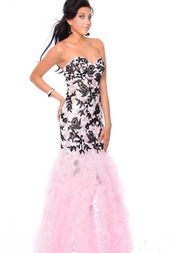 Wedding - Pink Lace Up Appliques Sweetheart Sequins Floor Length Tulle Mermaid
