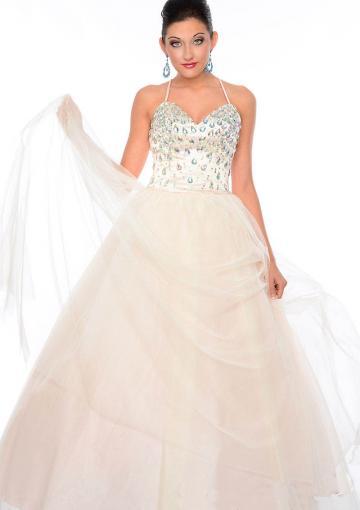 Wedding - White Blue Spaghetti Straps Sleeveless Crystals Criss Cross Tulle Floor Length Ball Gown