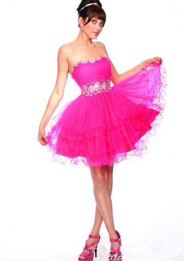 Wedding - Lace Up Strapless Tulle Crystals Fuchsia Blue Ruched Short