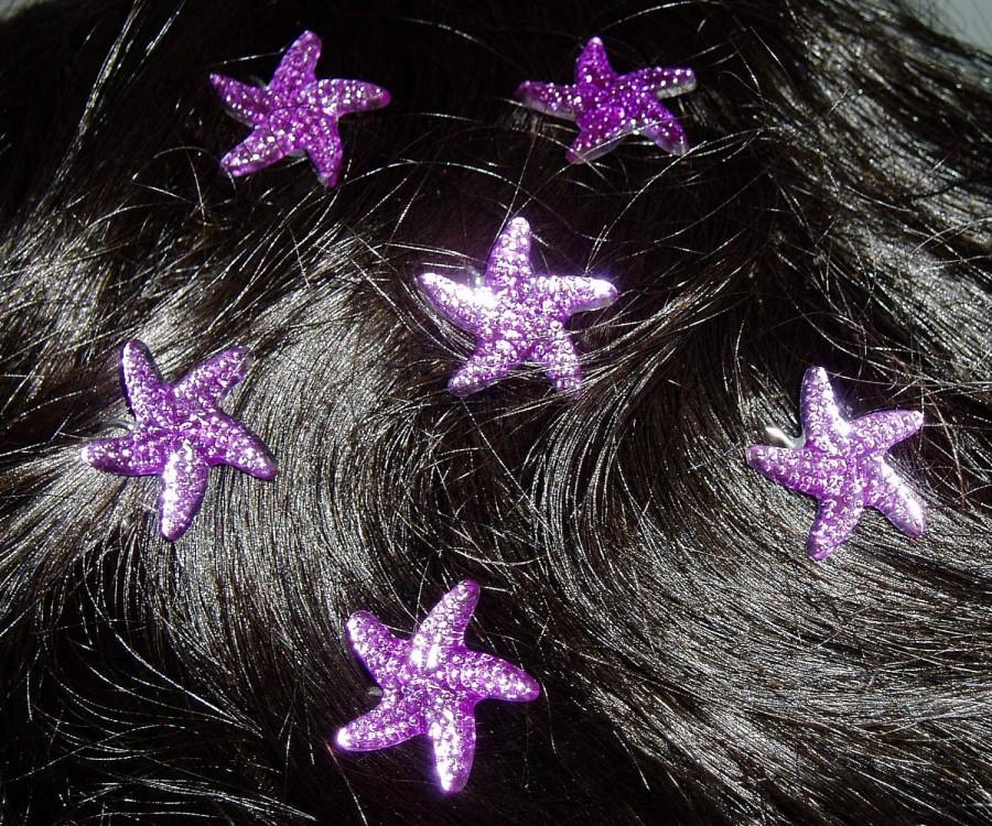 Wedding - Starfish Hair Swirls Twists Spins Spirals in Purple Acrylic for Beach Wedding Party