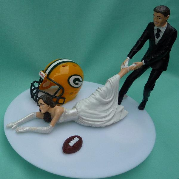 Wedding Cake Topper Green Bay Packers G Football Themed W/ Cheese ...
