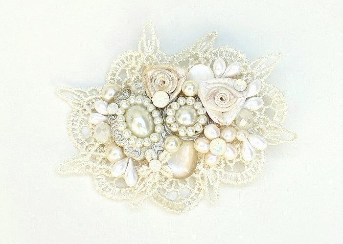Свадьба - Ivory Bridal Hair Comb- Ivory Hair Accessories- Wedding Hair Accessories- Pearl hairpiece- Bridal hair accessories- Shimmer No Sparkle