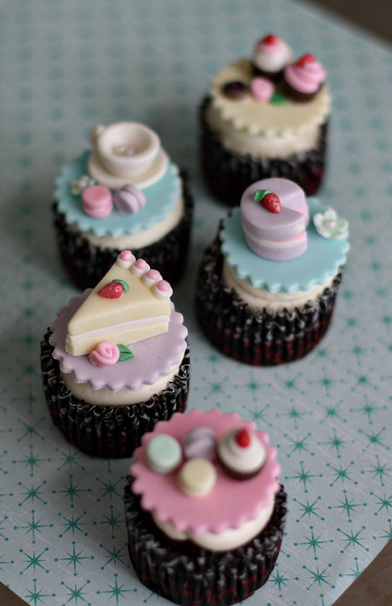 Cupcake Decorating Ideas For High Tea : Fondant Tea Party Toppers With Teapot, Teacups, Macaroons ...