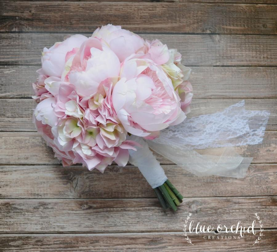 Mariage - Blush Pink Peony and Hydrangea Wedding Bouquet, Peony Bouquet, Blush, Peonies