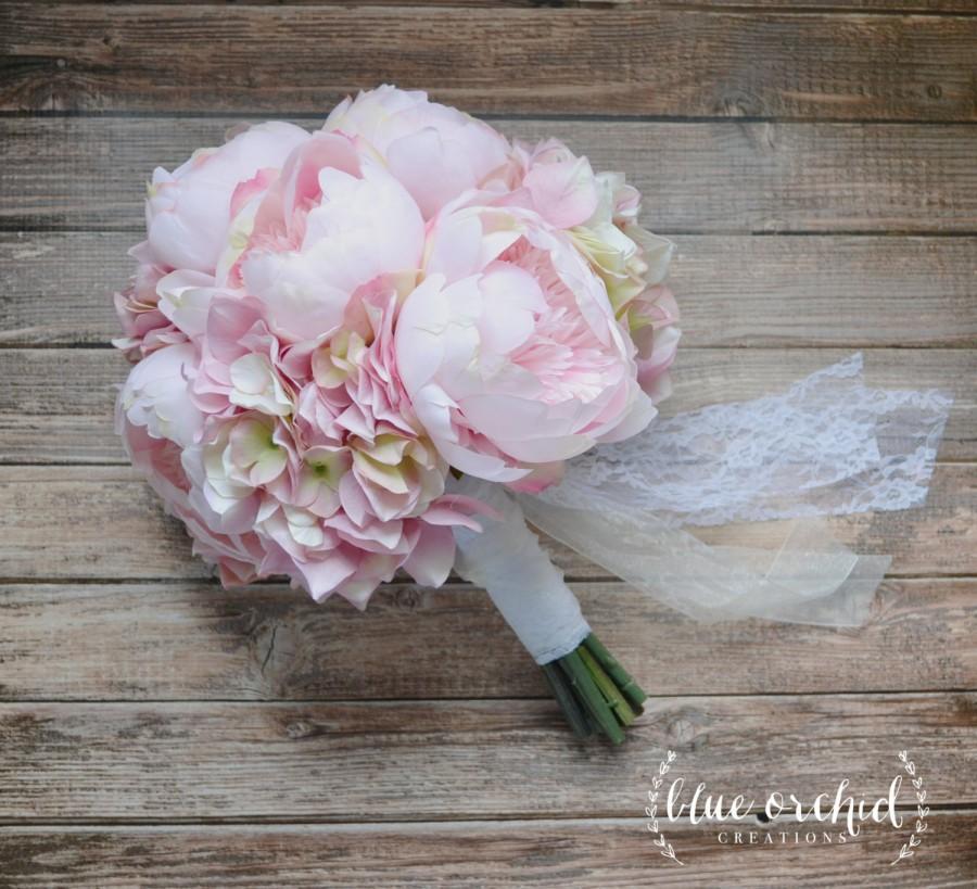 Hochzeit - Blush Pink Peony and Hydrangea Wedding Bouquet, Peony Bouquet, Blush, Peonies