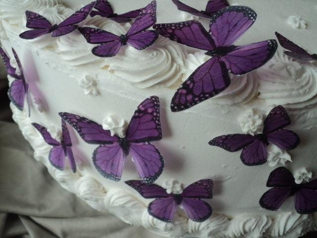 Wedding - 24 PURPLE MONARCH BUTTERFLIES 100% Edible Pre Cut Decorations Dress Cakes Cookies Cake Pops Garnish Wine Glasses Plates Dessert Tables