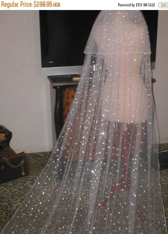 BRIDAL SALE EXTREME Bling Long Rhinestoned Bridal Veil