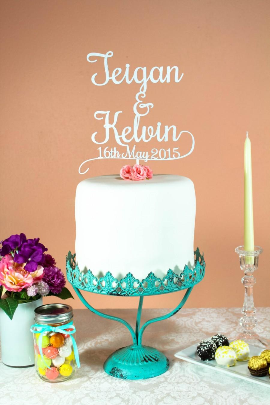 Mariage - Personalized Custom Mr & Mrs Wedding Cake Topper with Last Name and Wedding Date