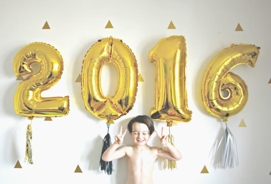 Gold New Years 2016 Number Balloons With Tassel, Silver ...