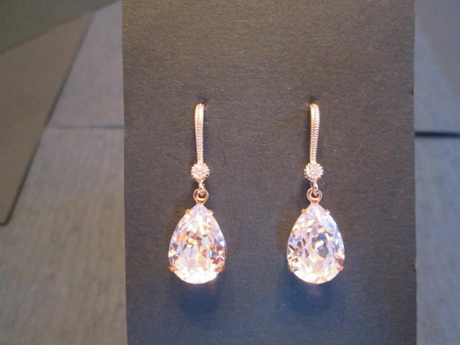 New Rose Gold Swarovski Earrings Rosaline Pink Bridesmaid Jewelry Wedding Crystal Blush