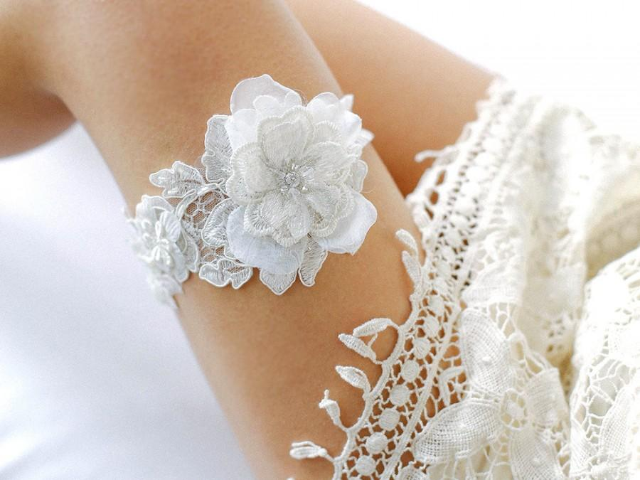 Mariage - Wedding garter set, bridal garter set, ivory rustic garter, ivory wedding garter - style #408