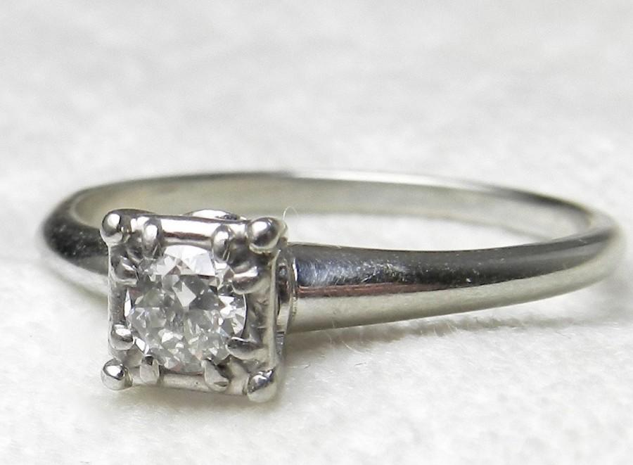 Wedding - Art Deco Ring Diamond Engagement Ring 0.30 Carat Diamond Engagement Ring 1920's Jabel Engagement Ring Solitaire Diamond Ring 18k white gold