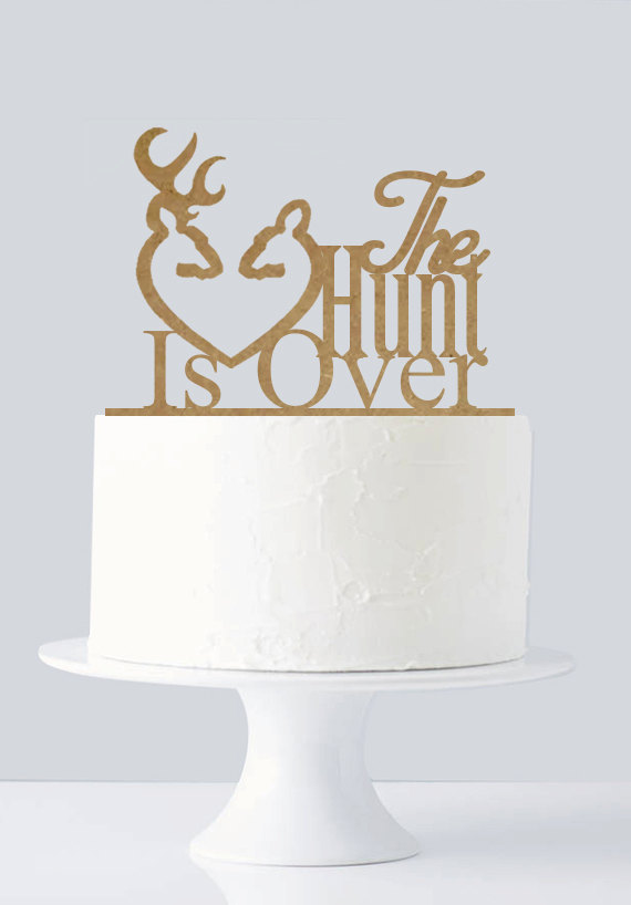 Mariage - Rustic wedding cake toppers, Hunt Is Over, Gold Cake Topper, Wooden Cake Topper A195