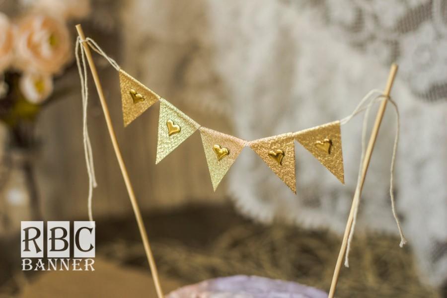Mariage - Gold Glitter Banner, Gold Hearts Banner, Gold Wedding Cake Topper, Gold Glitter Birthday, Gold Wedding Cake Decor, Gold Glitter Flags