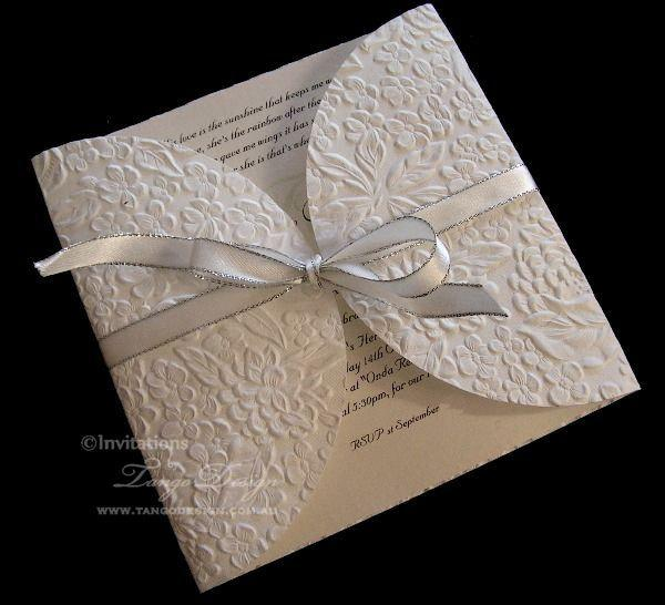 زفاف - White, Ivory, Champagne and Gold Wedding Invitation - Elegant floral invitations- 1x SAMPLE embossed card garden outdoor or formal wedding