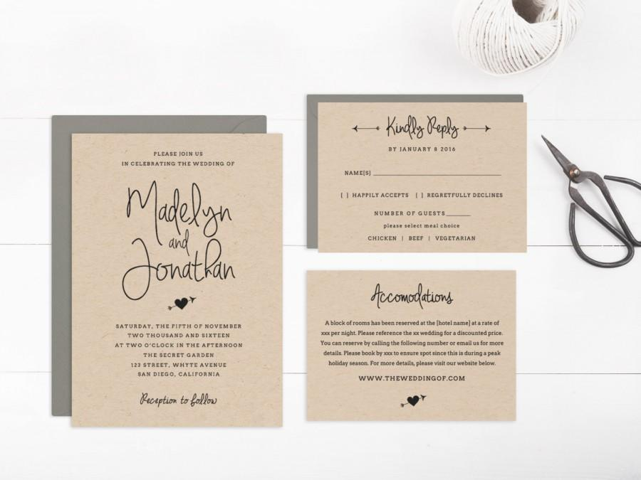 Wedding Invitation Template Printable, Editable Text And Artwork ...