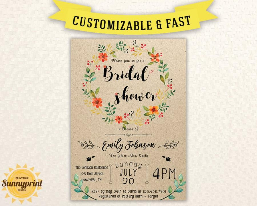 Bridal Shower Invites Vintage Invitation Printable Template Rustic