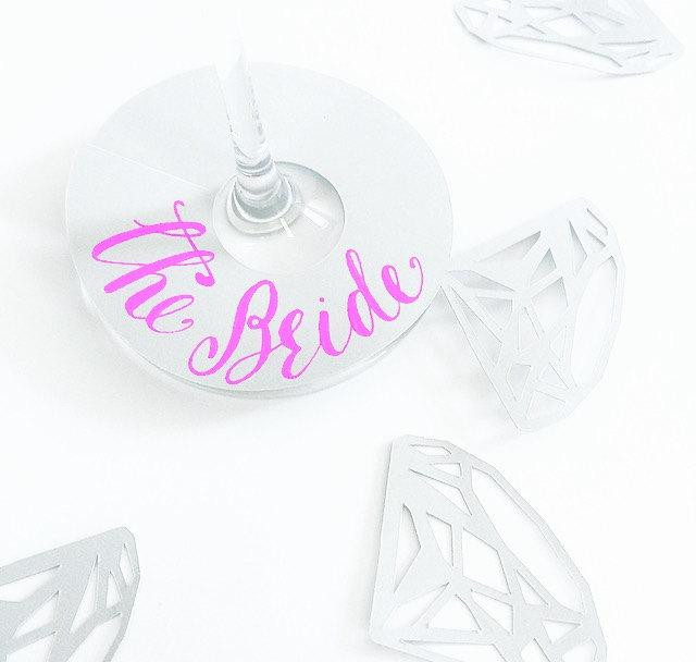 Wedding - Calligraphy Drink Tags - Set of 10: Bachelorette Party, Bridal Shower, Engagement Party Decor, Wine Tags, Wine Markers