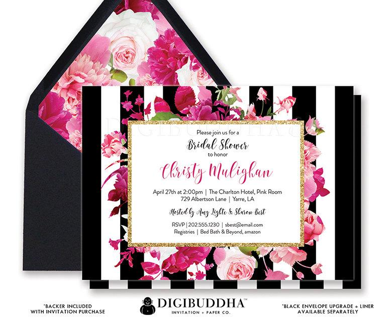 Bridal shower invitation bridal shower invite black white striped bridal shower invitation bridal shower invite black white striped gold glitter pink printed or printable bridal shower invitation christy filmwisefo
