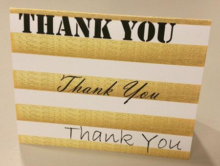 say it again thank you cards by ewo bridal paperie gold stripe bridesmaids bridal shower wedding gift handmade blank inside words
