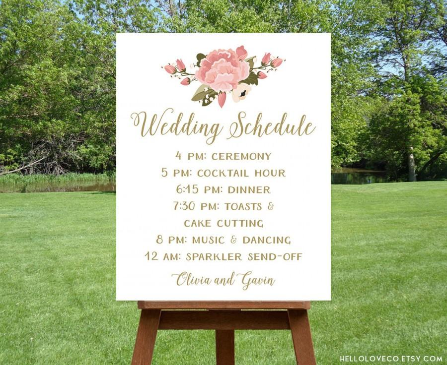 PRINTABLE Wedding Schedule Sign Custom Program Pink Peony Reception Itinerary Order Of Events DIGITAL
