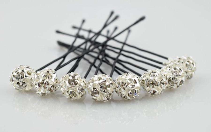 Свадьба - Rhinestones Hair Pins, Set of 6, Set of 8, Wedding Hair Pins, Crystal Hair Pin, Wedding Jewelry, Bridal Hair Pins, Pearl Hair Pins, Pins