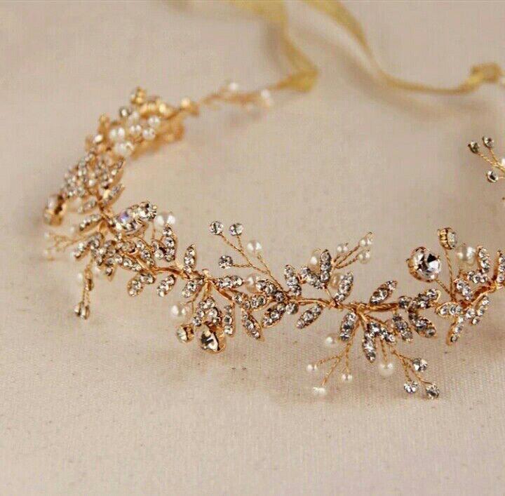 Свадьба - Bridal headpiece, hair vine,gold headpiece, gold vine,bridal hair accessories,bohemian bridal headpiece, wedding hair accessories,gold crown